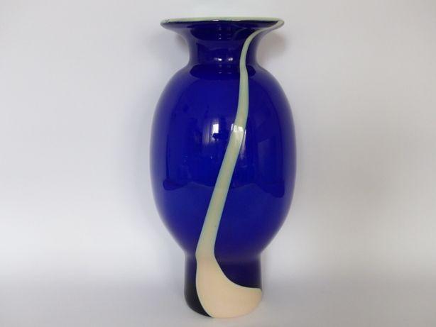 Niebieska Cyntia, proj. Z.Horbowy | wazon szkło PRL design new look