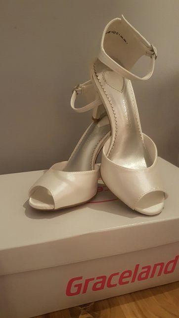 Buty ślubne GRACELAND 36/37 satynowe białe