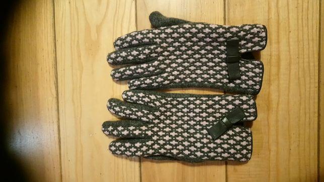 Rękawiczki S zimowe ocieplane szare różowe