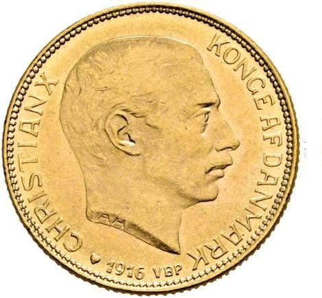 Złota moneta 20 koron Dania 1916 r. mennicza