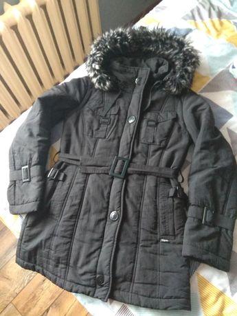 Czarny damski zimowy płaszczyk parka rozmiar 38