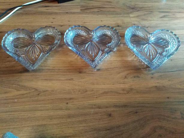 3 stare serca szkło fioletowe