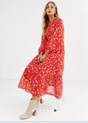 Бомбезное красное шифоновое ярусное макси платье с обьемным рукавом