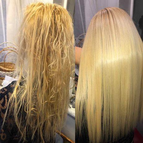 Холодное восстановление поврежденных волос с ультразвуковым утюжком .