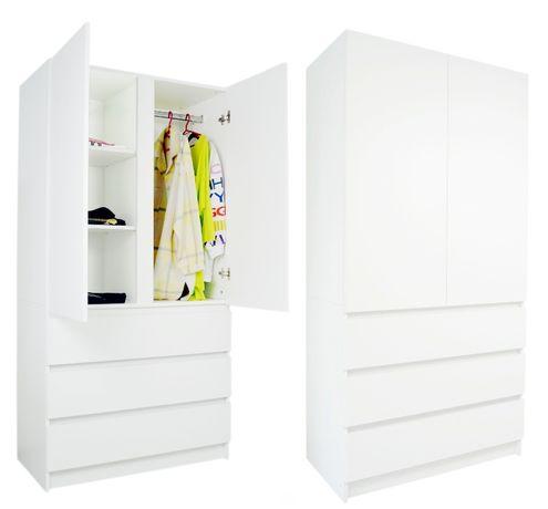 SZAFA MALAGA Szafy garderoba biała KOMODA 3 szuflady