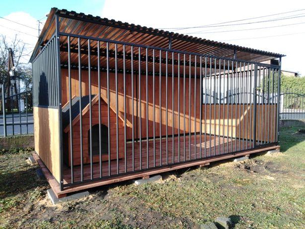 Mocny kojec dla psa 4x2 m + ściany z drewna, idealny dla dużych psów