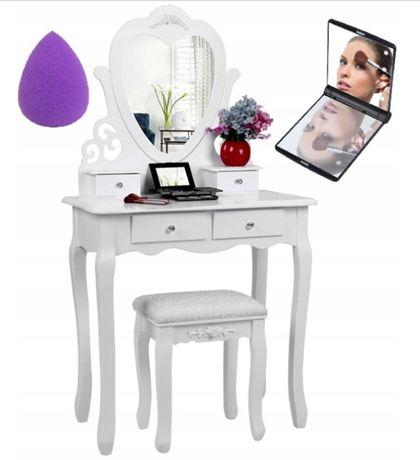 Piękna toaletka kosmetyczna lustro serce+taboret, lustro, gąbka GRATIS