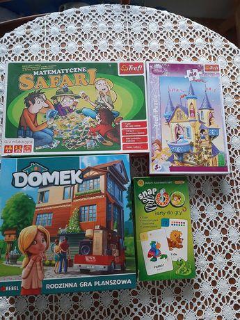 gra Domek + Safari + snap Zoo + puzzle Disney Księżniczki zestaw