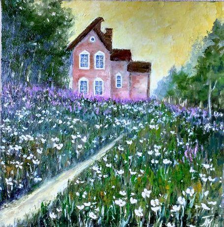 Картина масло холст 40х40 пейзаж Сказочный домик