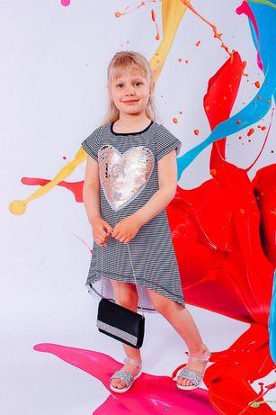 Летний сарафан с паетками для девек от 2-9 лет