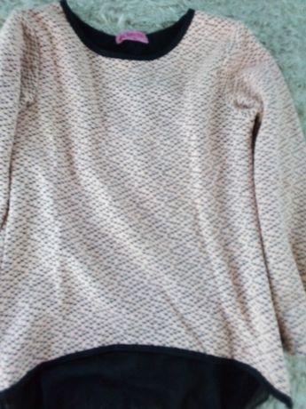 Super sweter z tiulem w pepitke 146/152