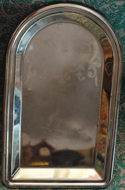 Латунний нікелірований піднос для антик. самовара
