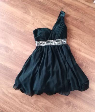 Sukienka czarna rozkloszowana, na jedno ramię, 38