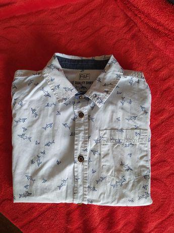 Biała koszula F&F r. 140 nadruk