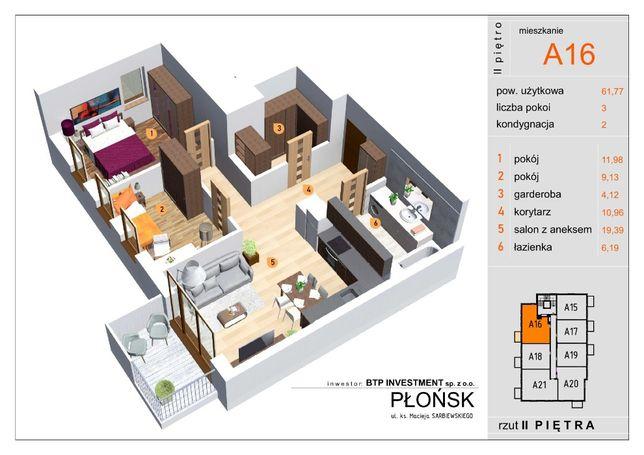 Mieszkanie 61,77m2 2-pokoje Nowa Inwestycja APARTAMENTY PŁOCKA
