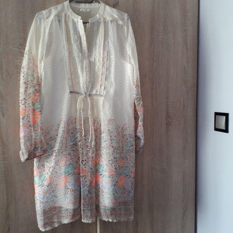 Sukienka ciążowa M złota nitka, kwiaty, koraliki, elegancka