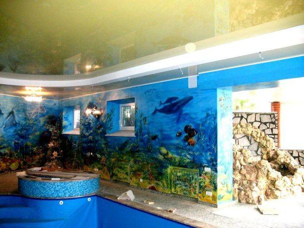 Роспись стен, художник оформитель, дизайн интерьера, мозаика.