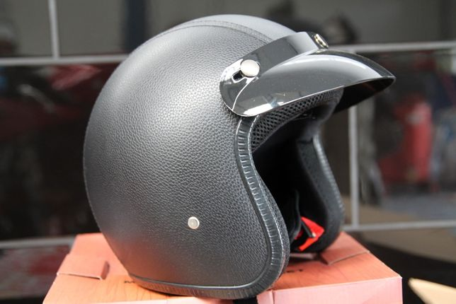 Kask otwarty na motocykl skuter chopper skóra orzeszek klasyczny m l x