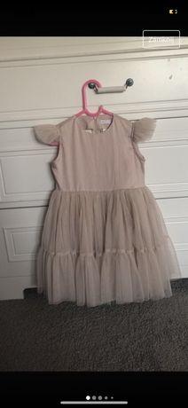 Sukienka la perelka 98 104 bezowa tiul