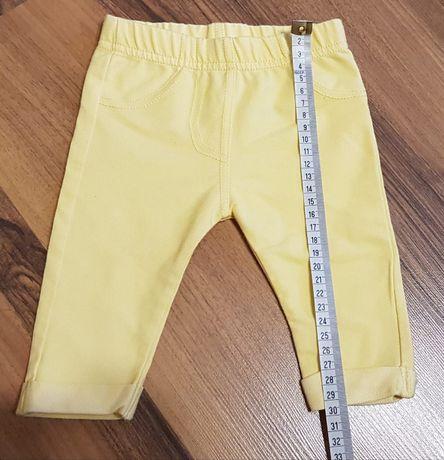 Spodnie materiałowe pastelowe żółte 56/62