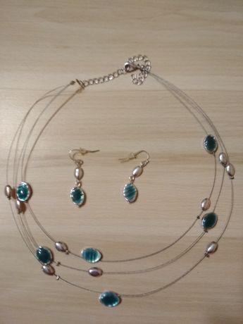 Komplet biżuterii z turkusowymi łezkami