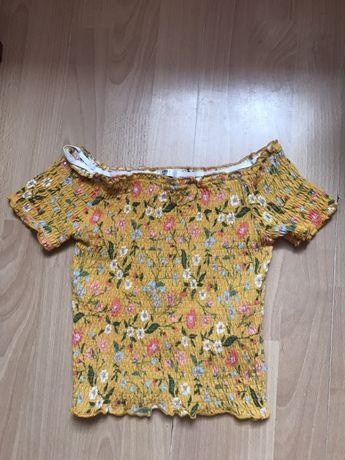 Koszulka w kwiatki na gumeczkach 146/152