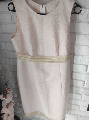 Sukienka pudrowy róż i złoto / rozm M/L