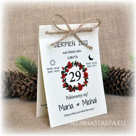 zaproszenie kartka z kalendarza ślub wesele zaproszenia ślubne