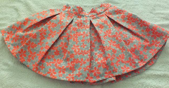 spódnica 104 w szaro-pomarańczowe kwiaty