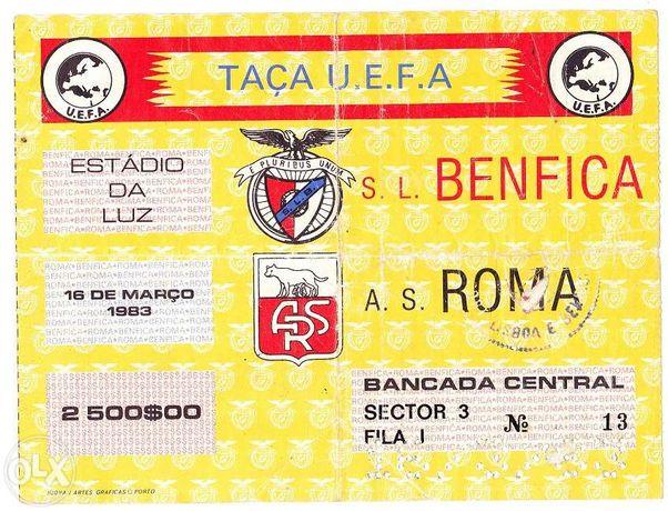 Bilhete futebol - benfica - roma 1983 taça uefa