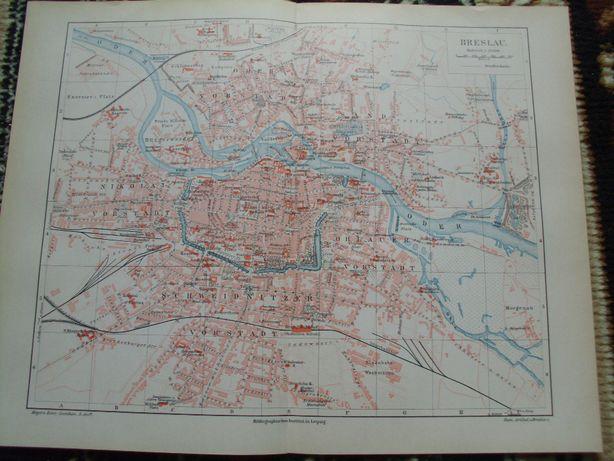 BRESLAU - WROCŁAW oryginalny XIX w. plan miasta do aranżacji wnętrza