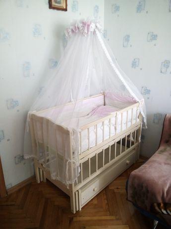 Детский манеж+матрас+бортики, одеяло, подушка, балдахин, держатель