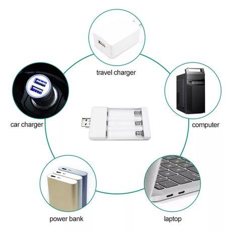 Carregador de pilhas aaa e aa USB novo com portes incluídos