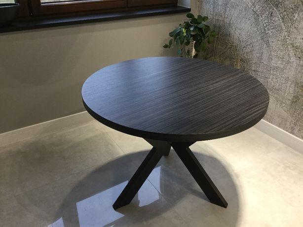 Stół okągły z naturalnej okleiny na metalowej podstawie