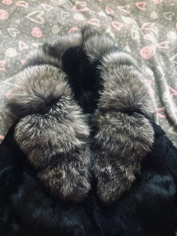 Шуба чорнобурка-кролик