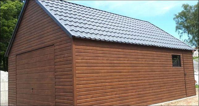Garaże Blaszany garaż Drewnopodobny 5x5 domek wiata 25 m hala