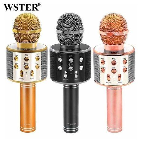 Беспроводной портативный караоке микрофон W-858 с динамиком