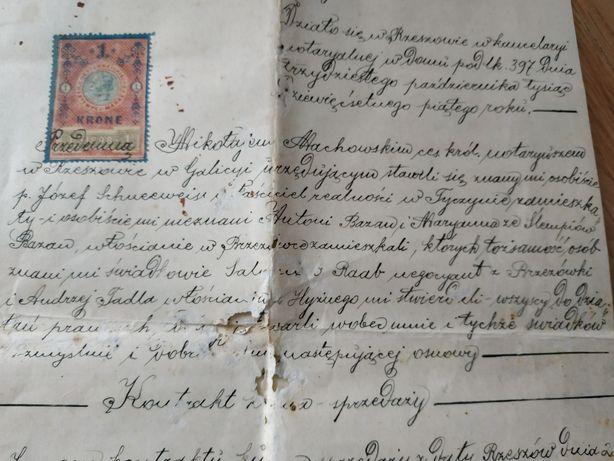Stary akt notarialny z 1905 roku.
