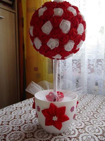 Czerwone drzewko stroik, podziękowania dla rodziców ślub - handmade