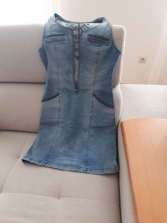 Idealna CREAM sukienka jeans 36/38