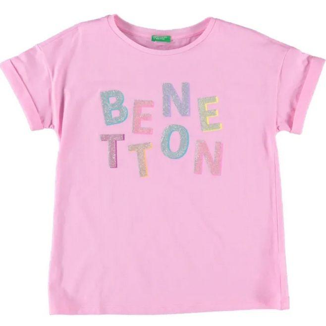 Benetton nowa koszulka różowa brokatowe logo 13 14 lat tanio Warszawa - image 1