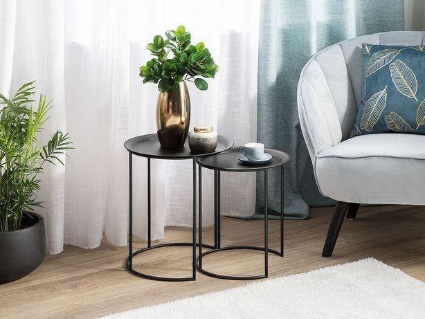 Conjunto de 2 mesas de apoio pretas TWINS - Beliani