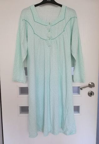 Koszula nocna XL 42 kwiaty niebieska turkusowa piżama damska