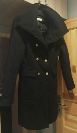 Płaszcz jesienno zimowy czarny wełna Camaieu 38 M klasyczny