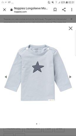 Noppies Monsieur nowa szara bluzka z gwiazdką r74