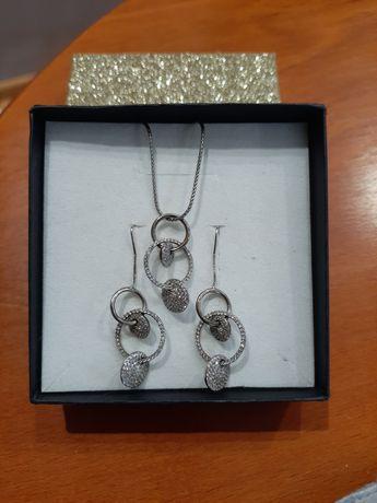 Komplet srebrnej biżuterii cyrkonie