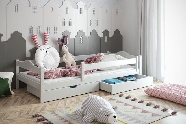 łóżko z barierkami ochronnymi i szufladami