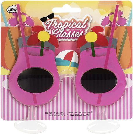Tropikalne różowe okulary, drinki, fotobudka