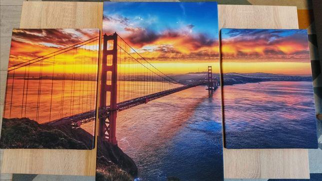Tryptyk obraz na płótnie Golden Gate zachód słońca