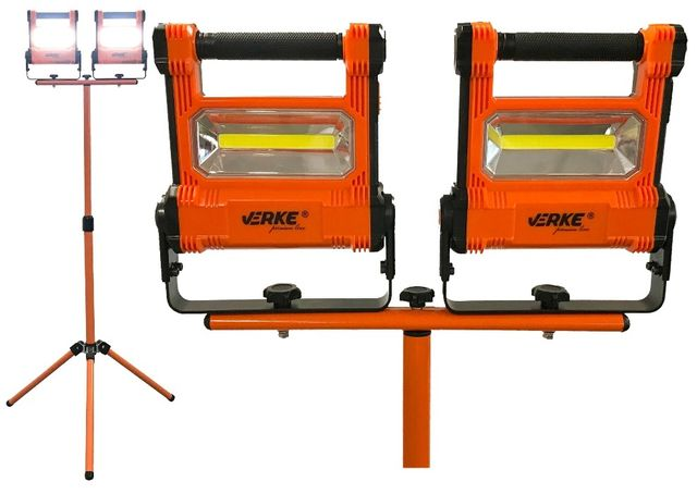 LAMPA HALOGEN AKU LED 20W mini LATARKA zestaw latarka x2 + statyw